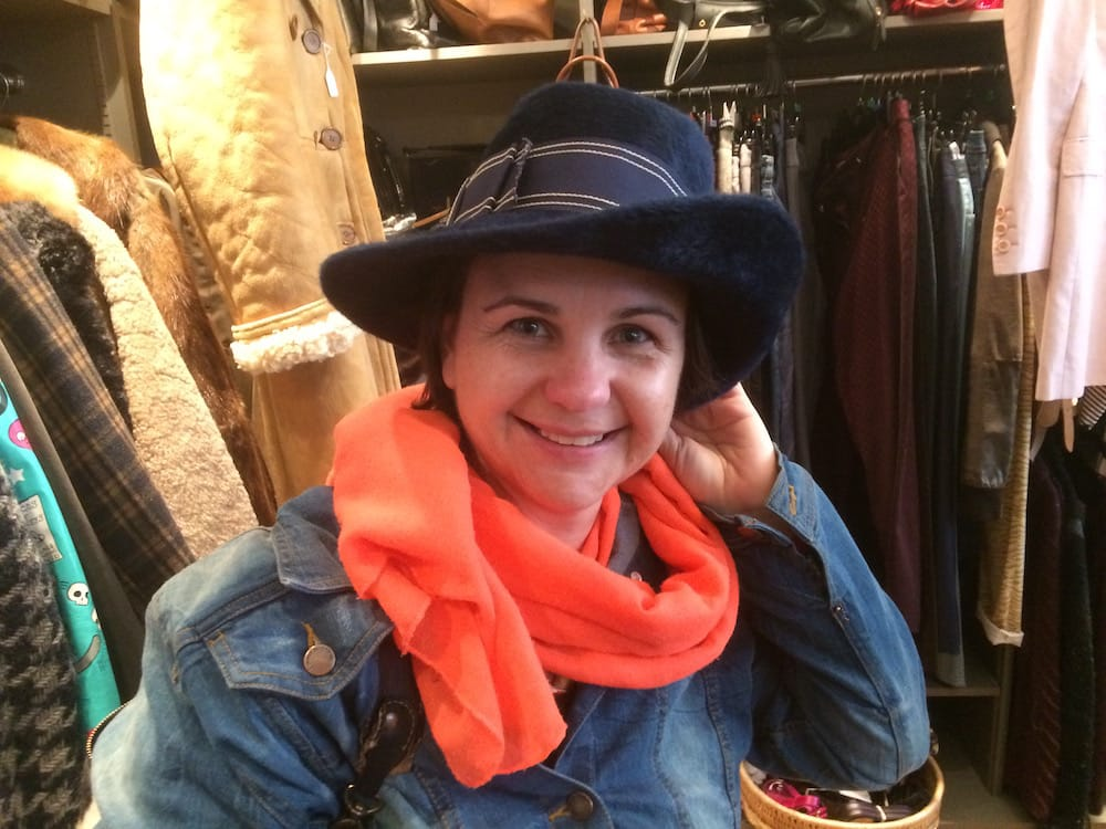 Alice found this amazing hat at an op shop on Leith Walk