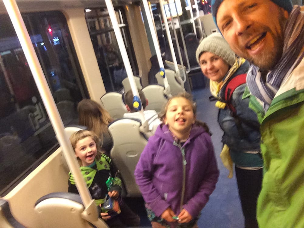 We like trains, here's us coming back from Tesco from the other side of town