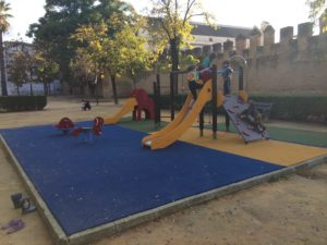 A playground next to the wall