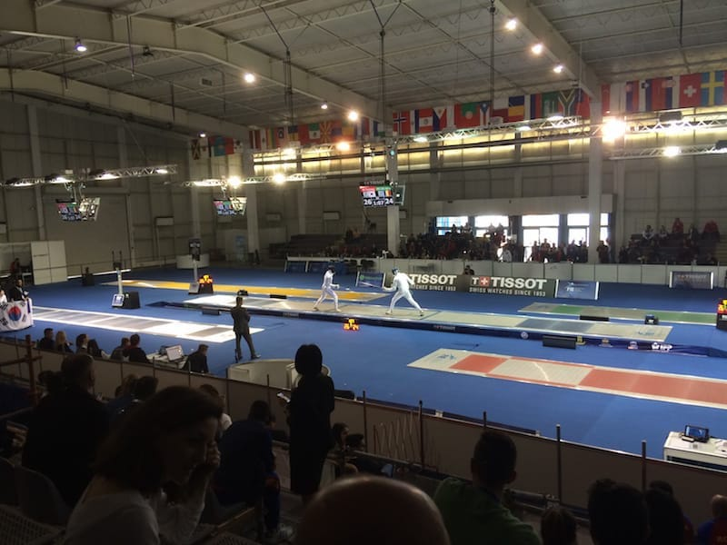 The Junior World Championships for Fencing, we didn't realise till the end that we were in the competitors cheering section