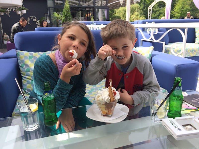 The kids enjoying a Friday icecream at Morado Bar and Dinner, Plovdiv