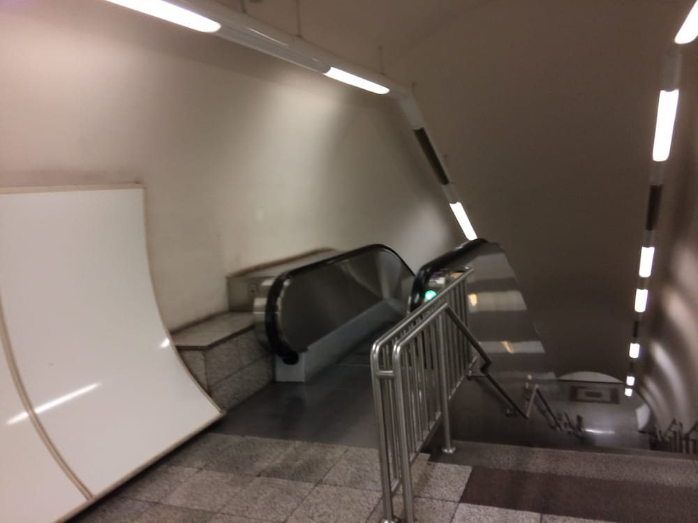 Another Athens escalator shot down to the subway, no one ever checks tickets
