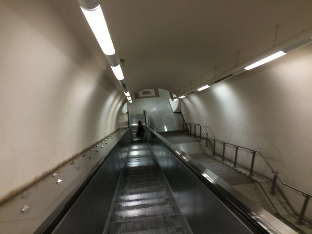 Another Athens escalator shot down to the subway