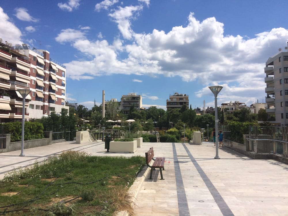 This big walkway gets pedestrians over two busy roads that cross Nea Smyrni neighborhood, Athens