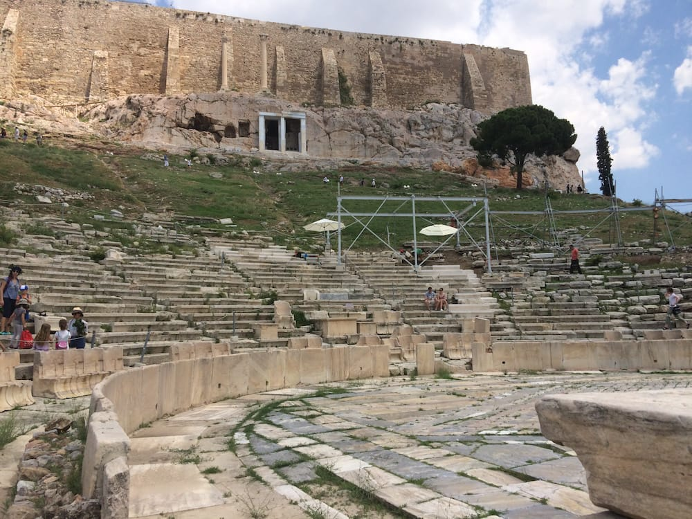 Looking up at the Acropolis from the theatre