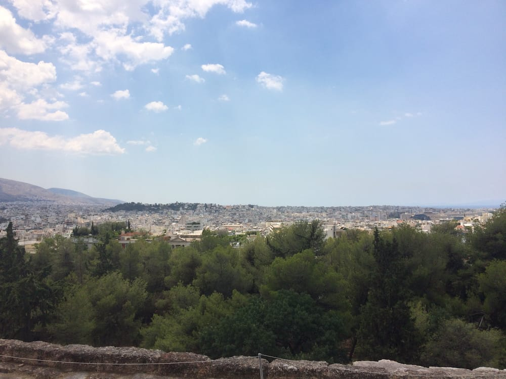 Looking southwest over the amphitheatre at the Acropolis