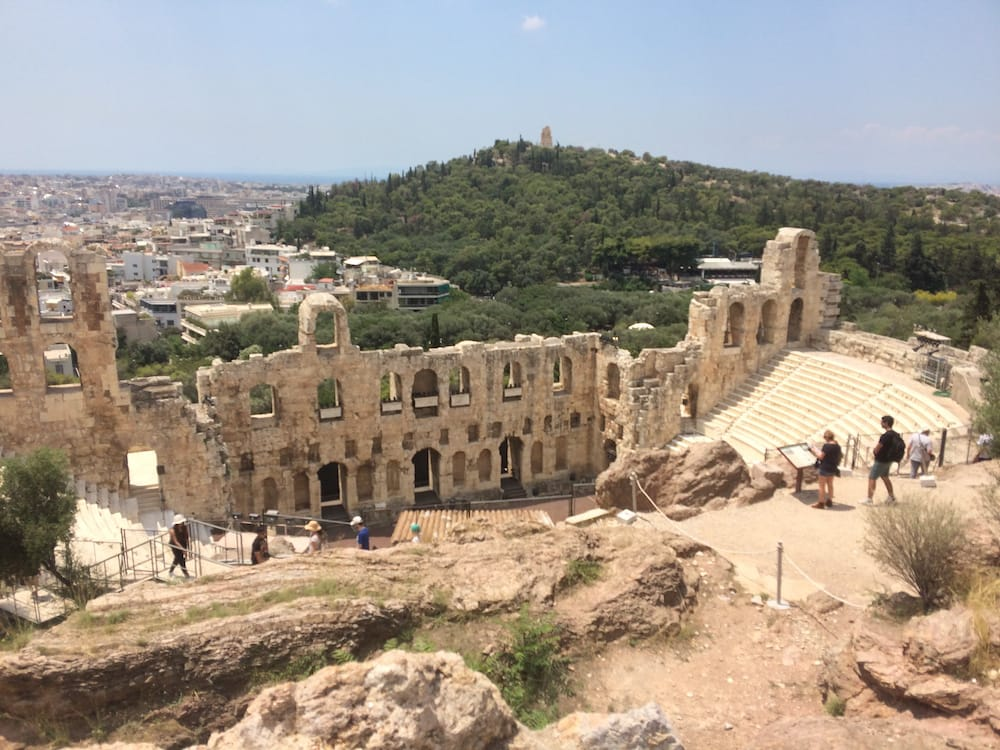 Looking northwest over the amphitheatre at the Acropolis