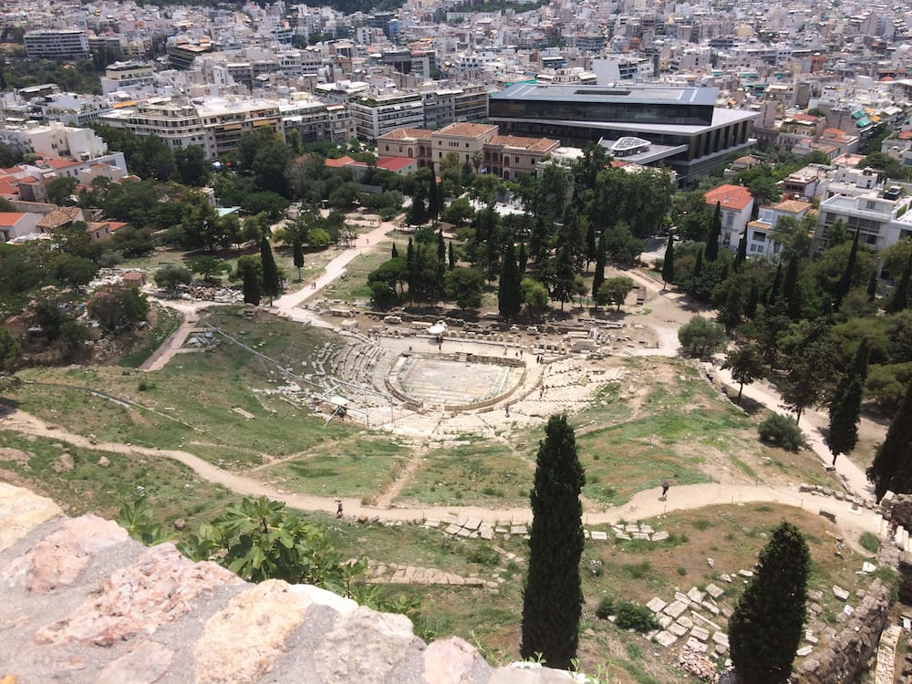Looking down on the theatre at the Acropolis