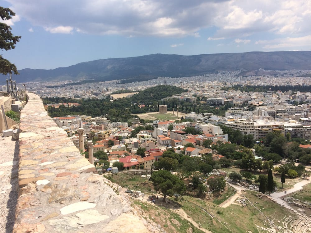 Looking south at the hilltop of Acropolis