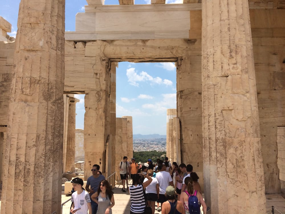 Looking through the Acropolis hilltop entrance to the north