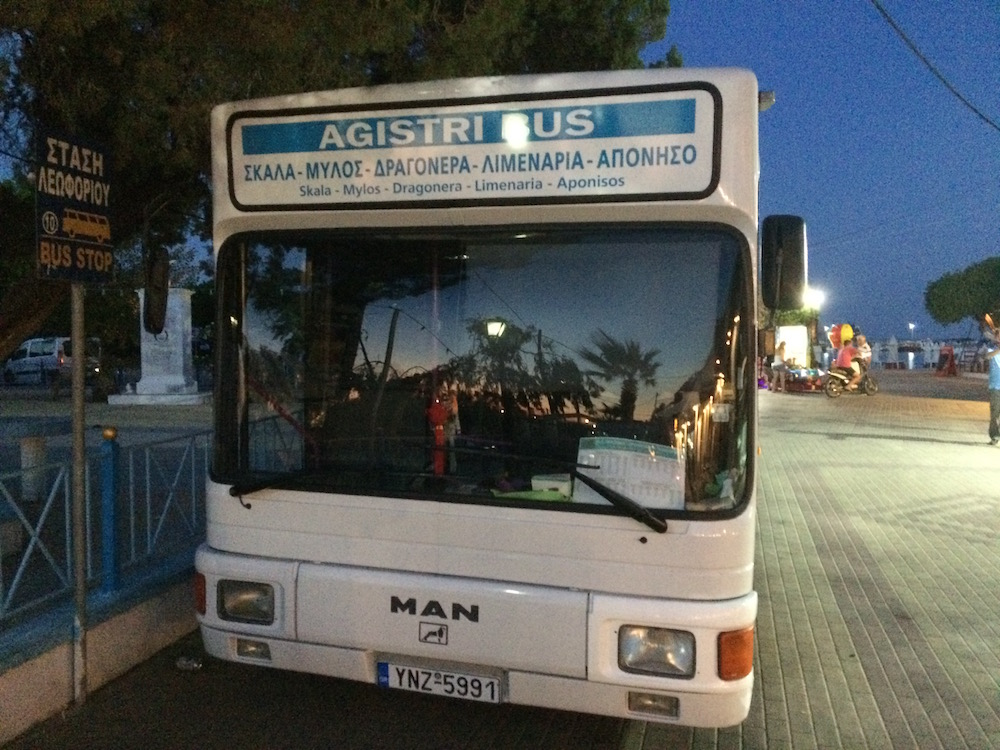 The white bus on Agistri is the way you get around without a motorscooter