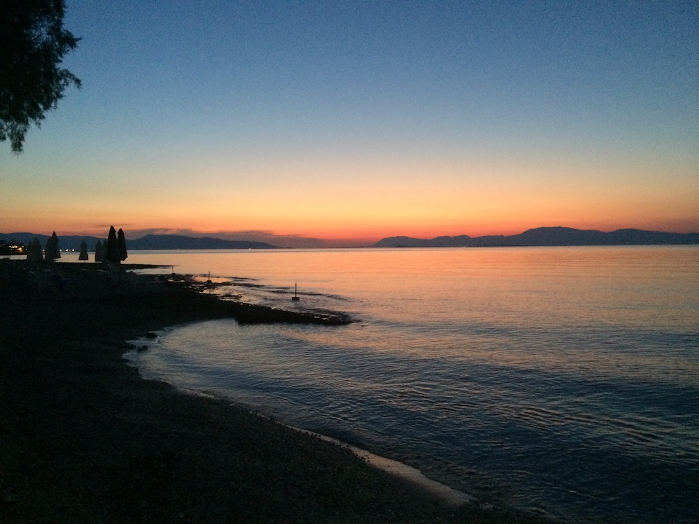 Alice and I caught a sunset on the beach in Skala, Agistri; yes it was this good