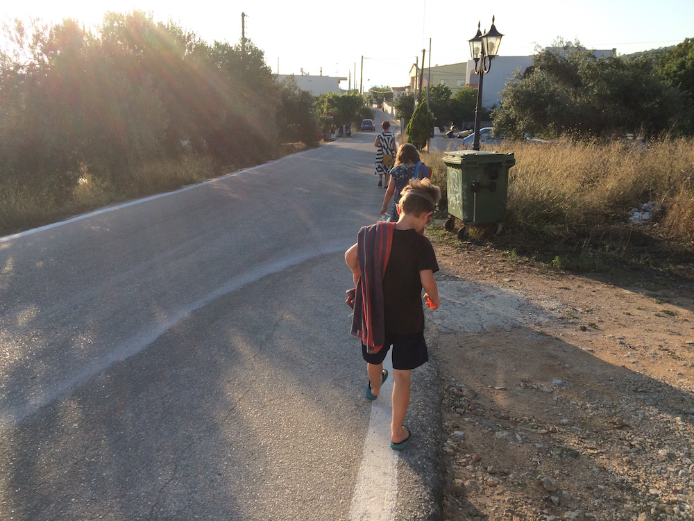 Our road into town/Skala