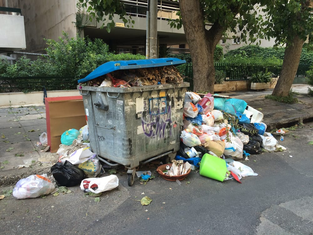 There was a 2 week Garbage Collector's strike while we were in Athens, it really started to pile up!