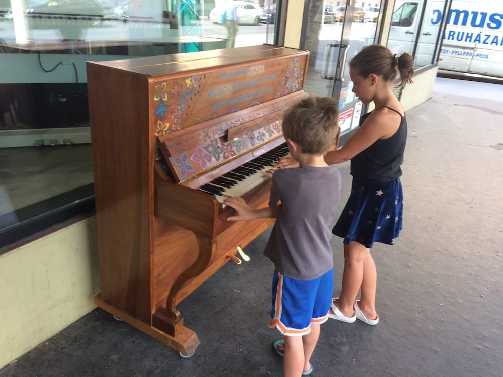 "This piano at a music store in Szimpla Kert gave us a lot of fun; Ms10 learned ""The Sound of Music""!"