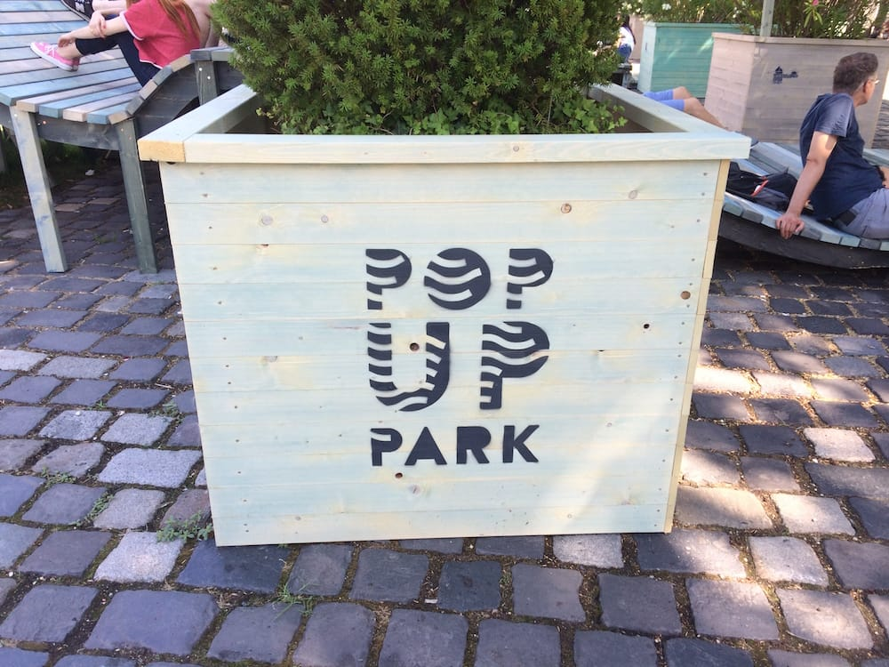 Budapest's Pop Up Park was so cool; places to sit and even usb recharging points built into the wooden seating