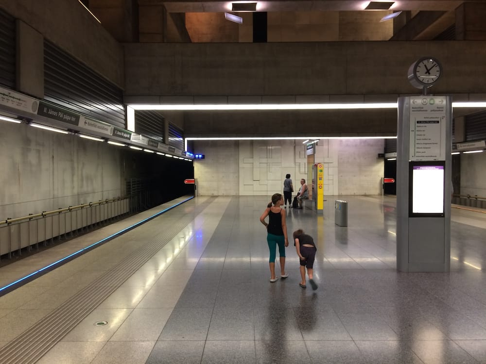 Our local subway station, Janos Pal Papa Ter (Pope John Paul Street)