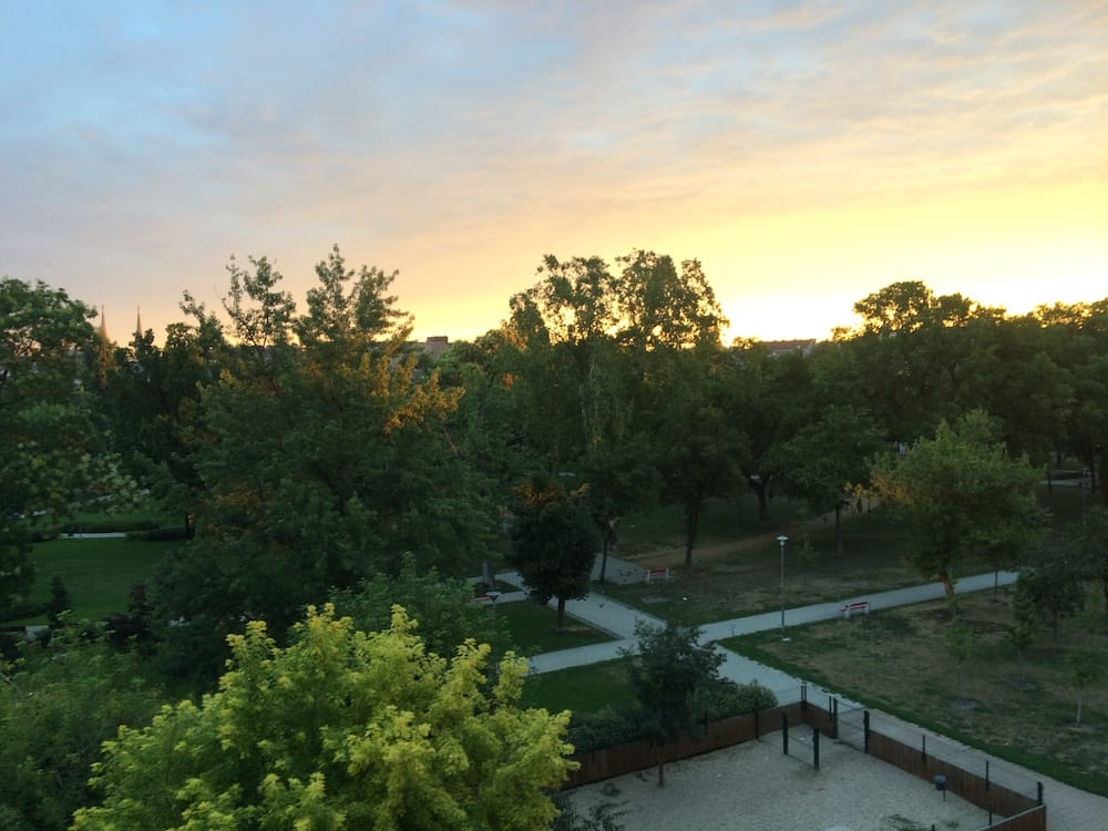 Sunrise at our Budapest apartment, this is about 5:55am