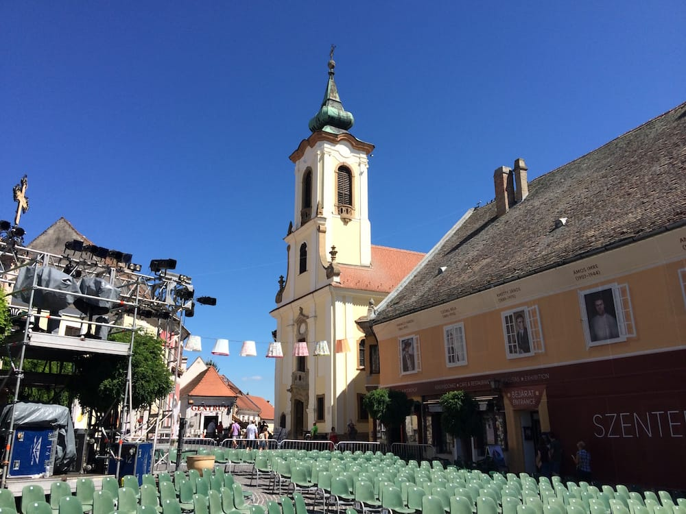 The main square in Szentendre was prepped and ready for another night of musical fun