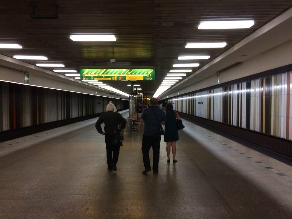 The platform at Dejvicka, our home station