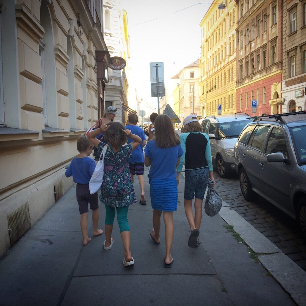 We met a wonderful family, the Evans' at the park in Prague, then went for an organic ice cream