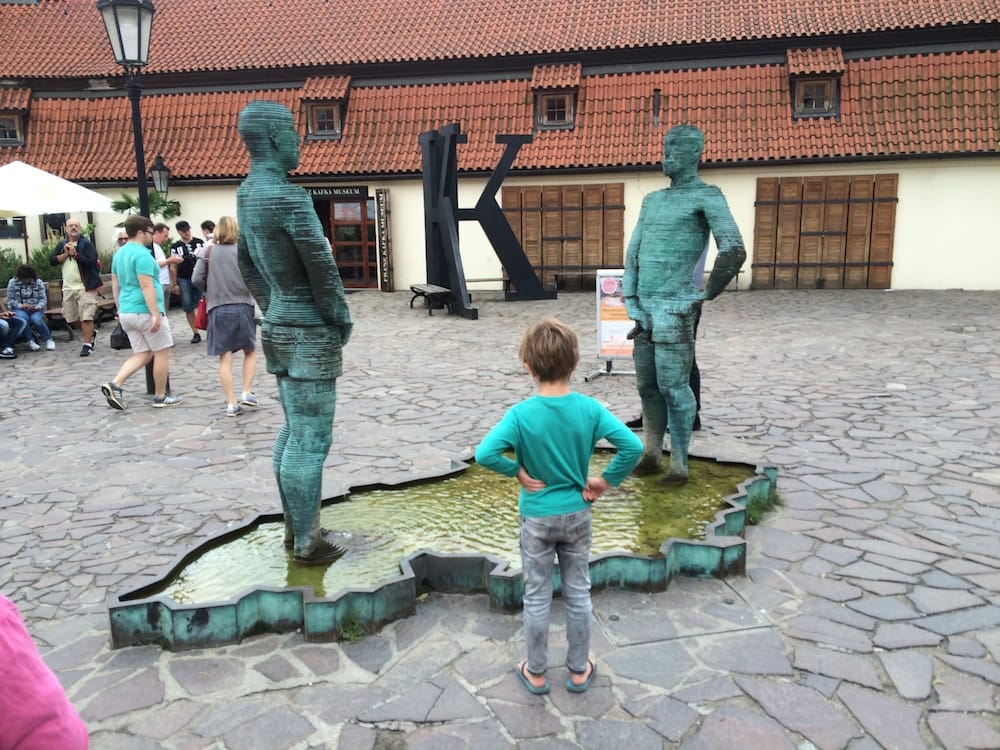 Mr.7 Has a moment with a sweet statue in Prague