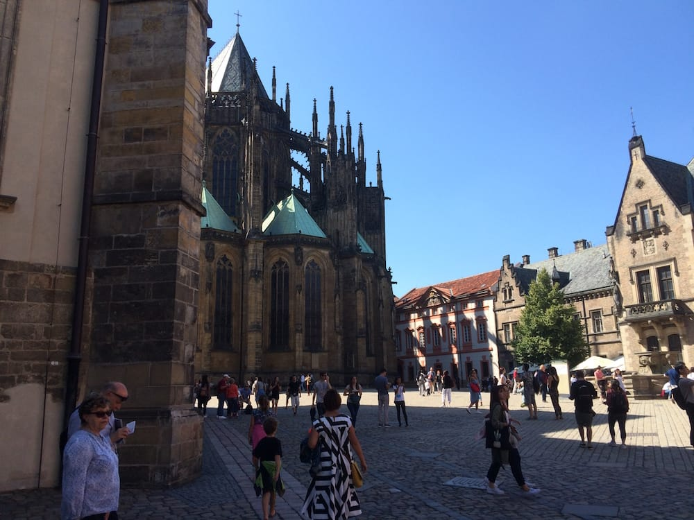 Looking round the corner at St. Vitus Cathedral, Prague