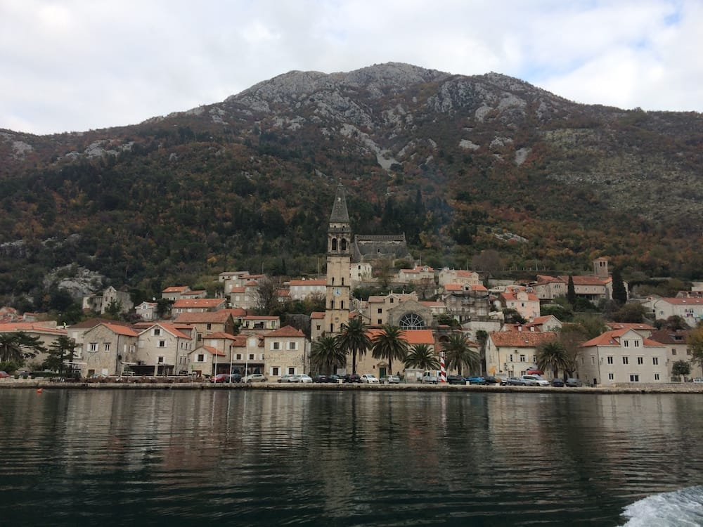 The town of Perast viewed from The Church of Our Lady of the Rocks