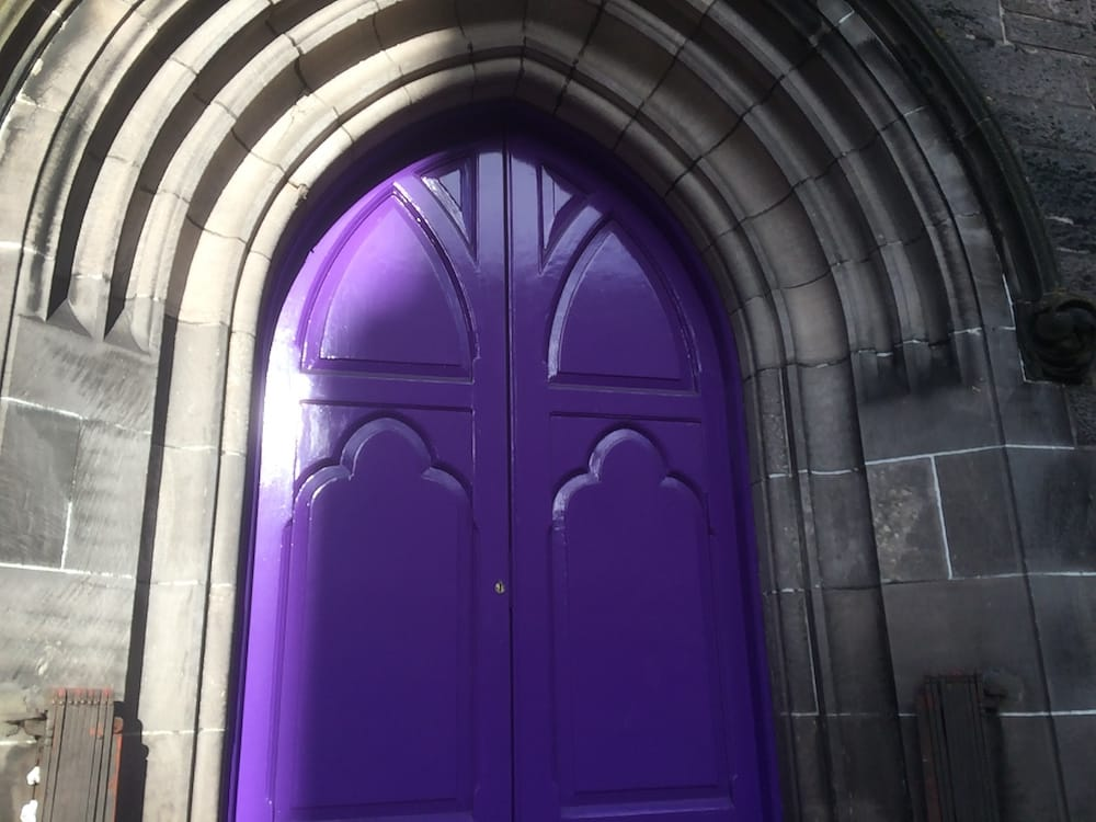 An amazing church door by the public library, Inverness