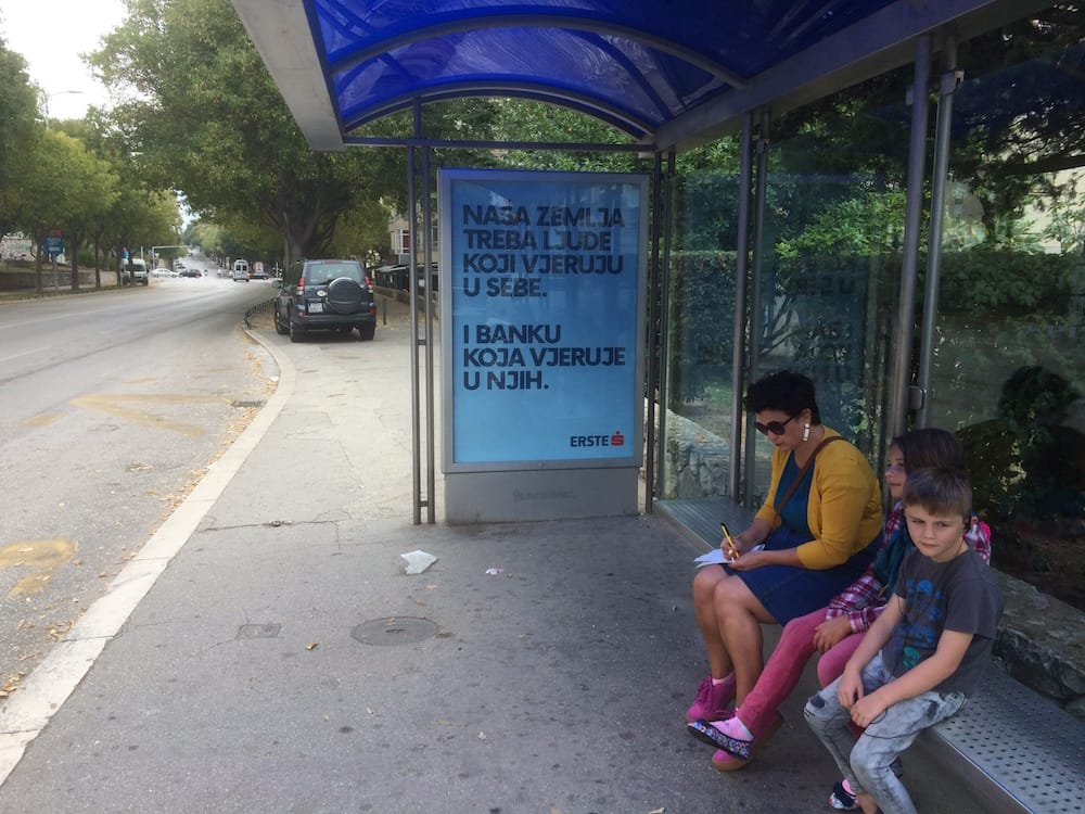 Us waiting for the 15 bus to take us to the Mall of Split