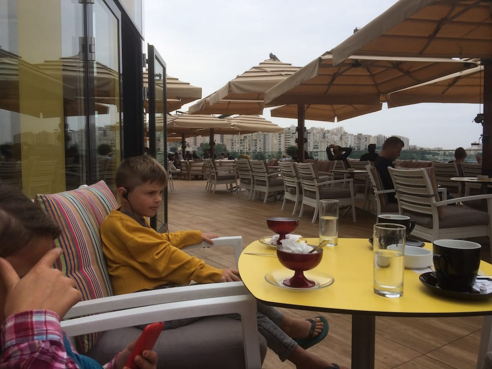 Us enjoying some hot beverages at a cafe on top of the Mall of Split