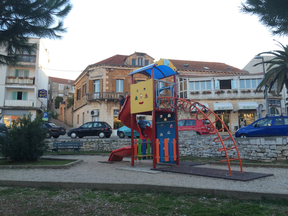 The most popular playground in Vela Luka, well the only one