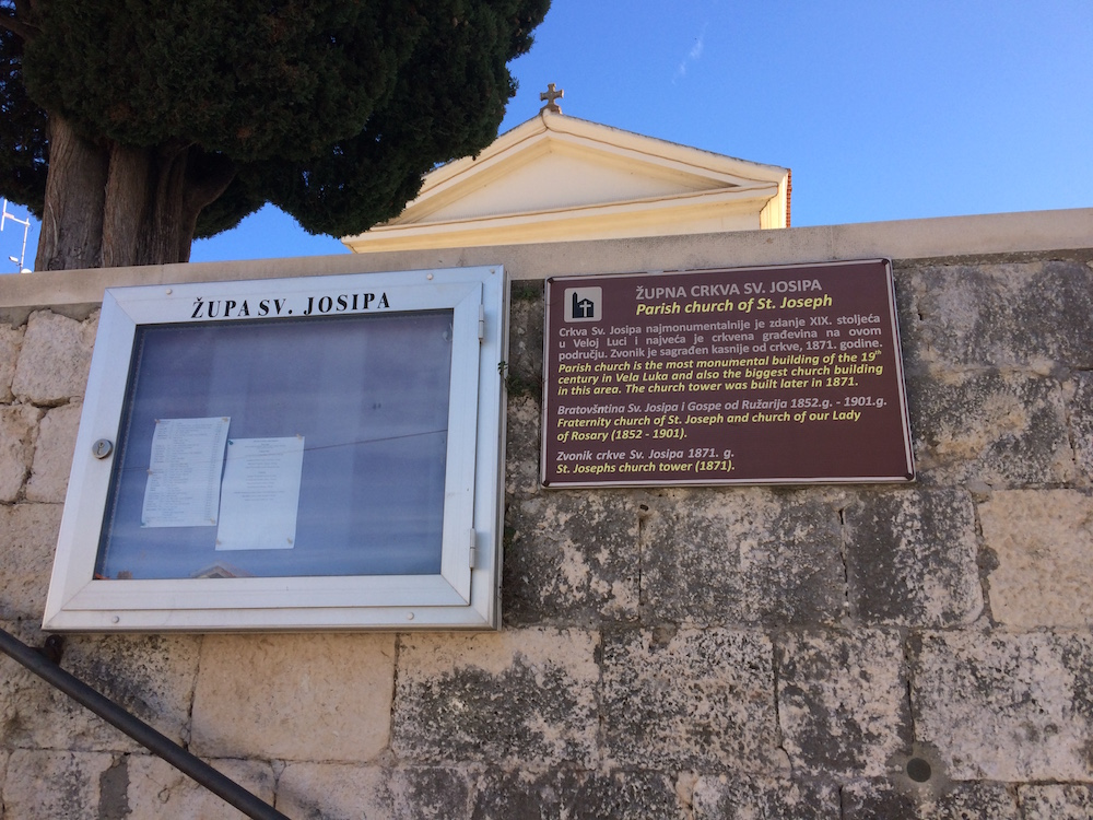 The Church of St. Joseph, Vela Luka, handy information board