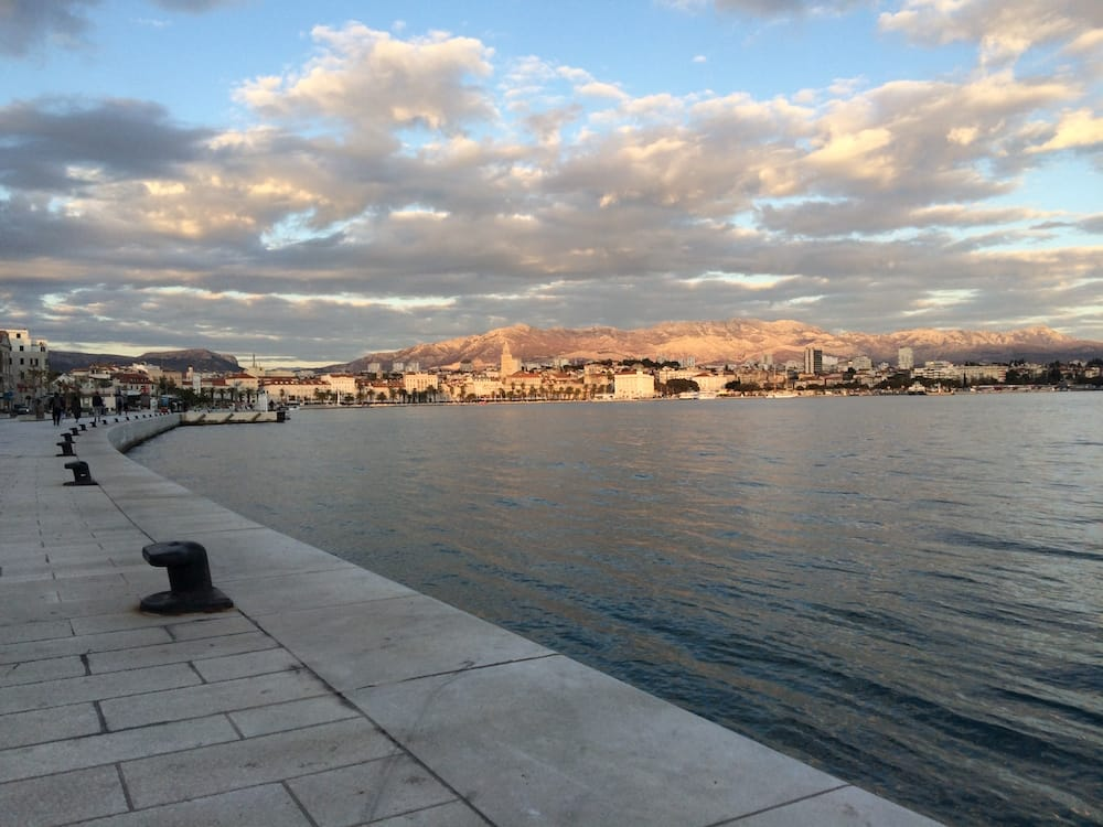 Looking back at the Riva, Split, for sunset