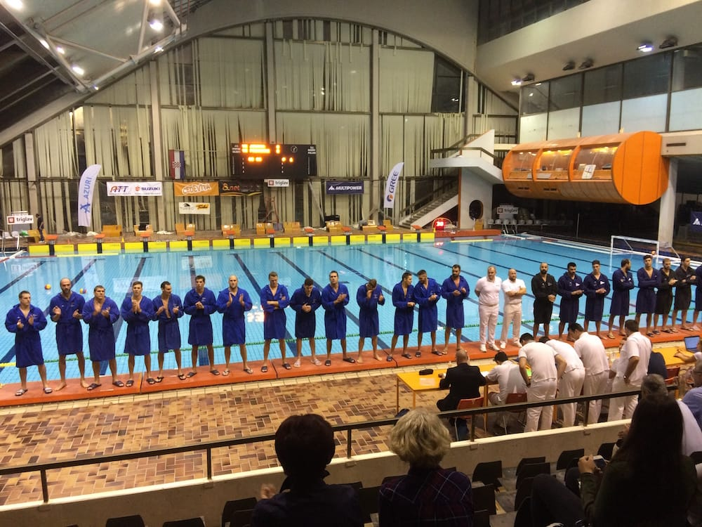 Two Croatian champion's league water polo teams stand for their introductions