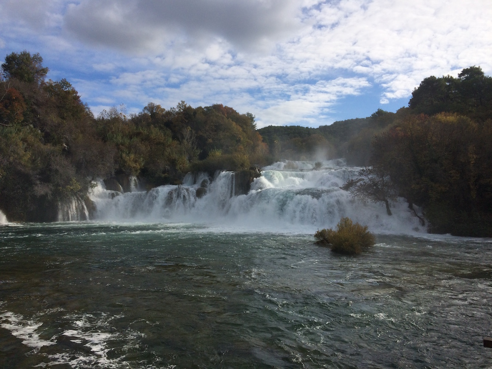 Krka Falls is loud and majestic, it's quite long