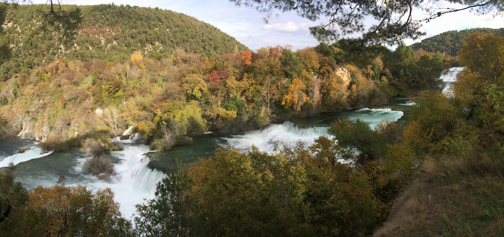 Krka Falls is even more beautiful with its fall colours on, this view from the viewing platform and shops area