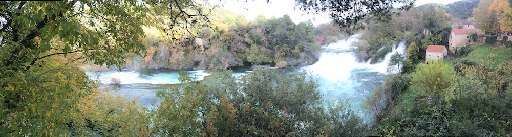 Krka Falls is very long but I made an attempt to get all of it in one panorama
