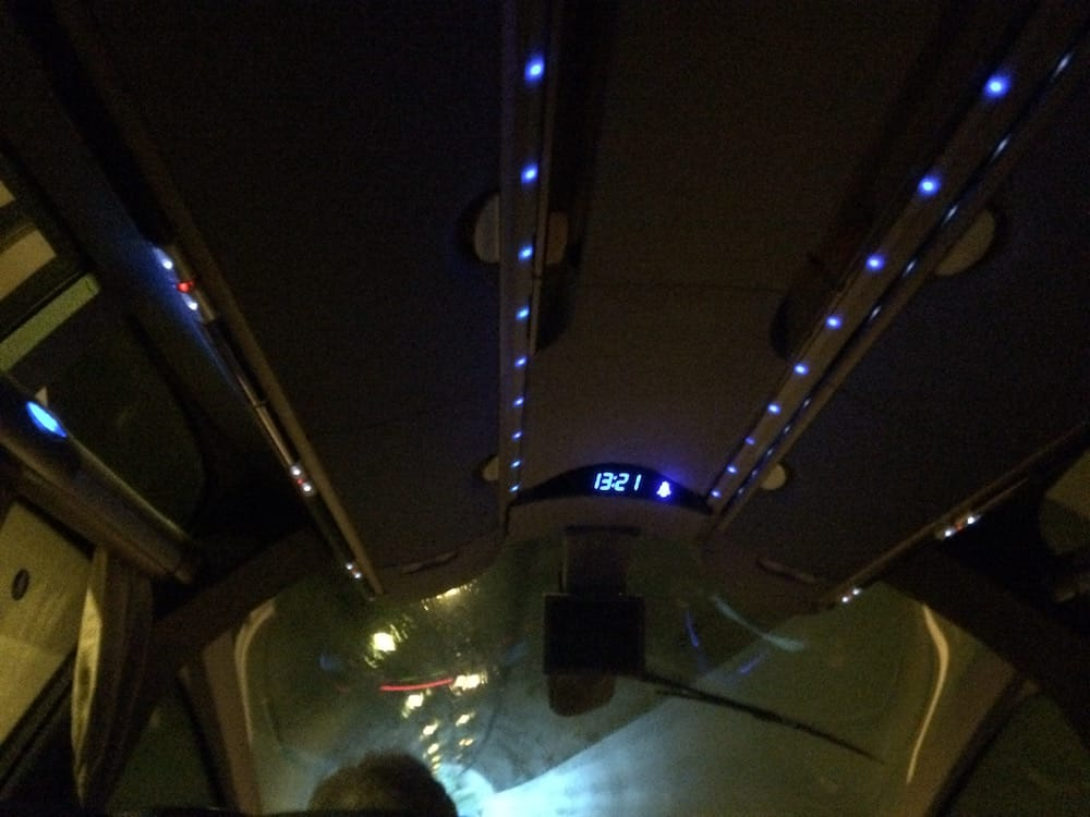 Inside the Dubrovnik bus in a tunnel, ooh lights!