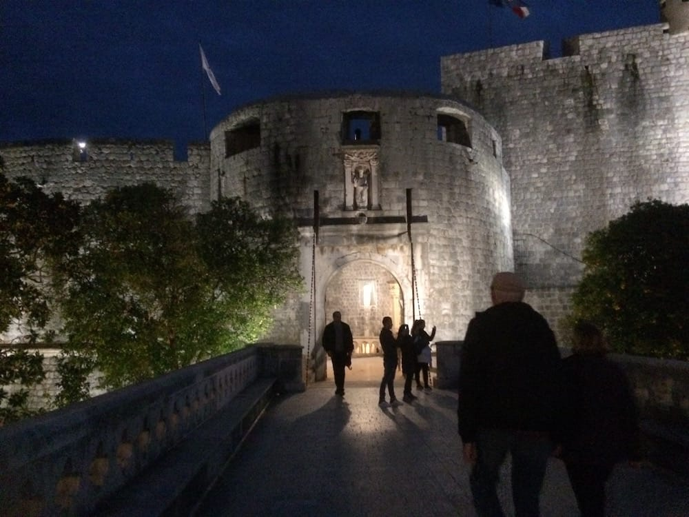 The entrance to the Old Town Citadel, Dubrovnik at night
