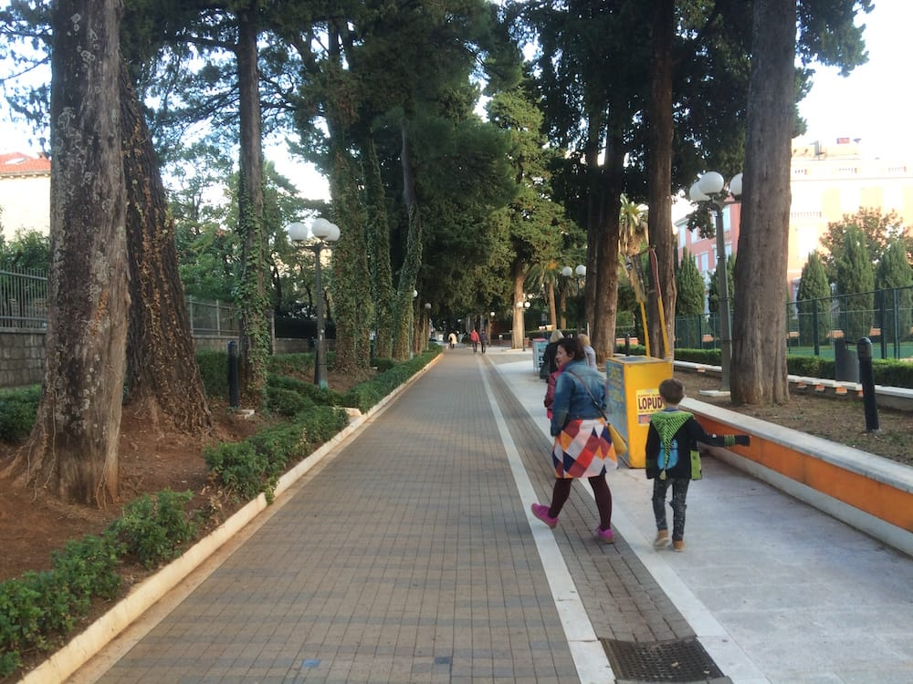 The sweet walk from sunset beach to our bus stop to get back to Apartments Gabrieri