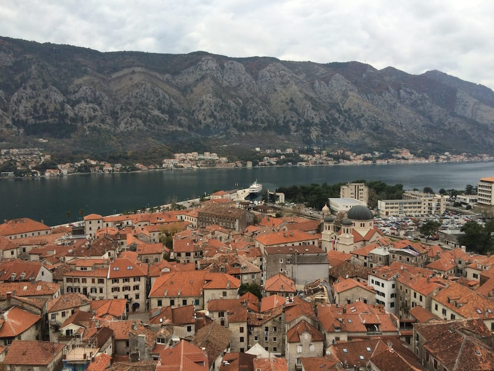 A good closeup view of Kotor Castle and its tightly packed buildings, ours is two closer and two the right from the big tee there in the centre