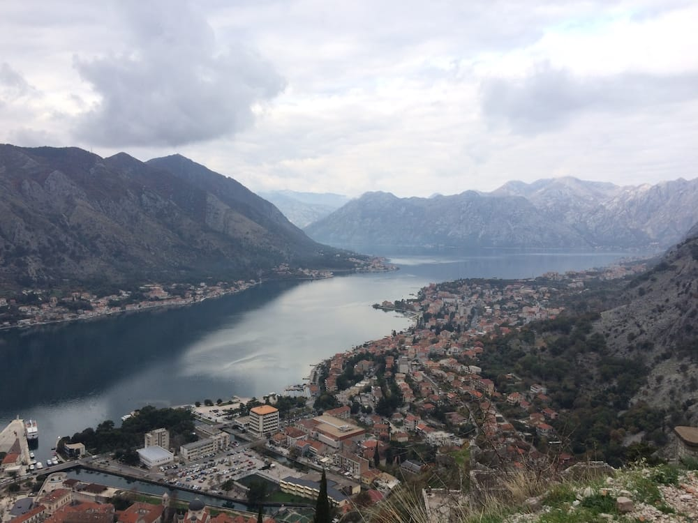 The Bay of Kotor as seen from the Church of Our Lady of Remedy