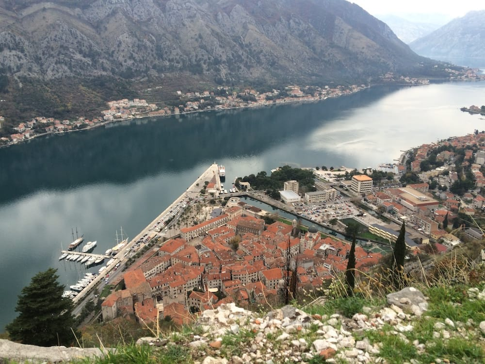 A view of Kotor Castle from near the top of the mountain hike