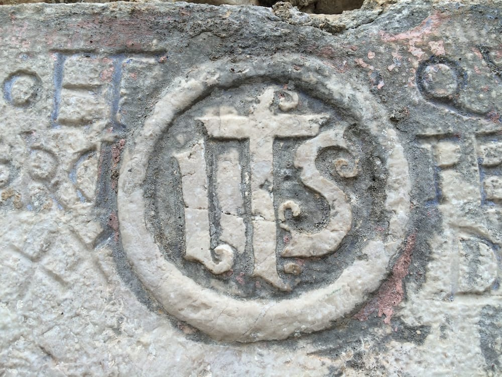 The seal on the doorway of St. George's Church, closeup