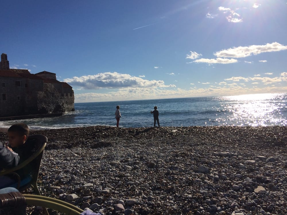 What a gorgeous day at Budva Old Town Beach, we sat here at an outdoor cafe and had sweet espresso