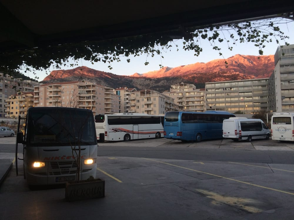 Beautiful sunset at the bus stop looking toward the mountains