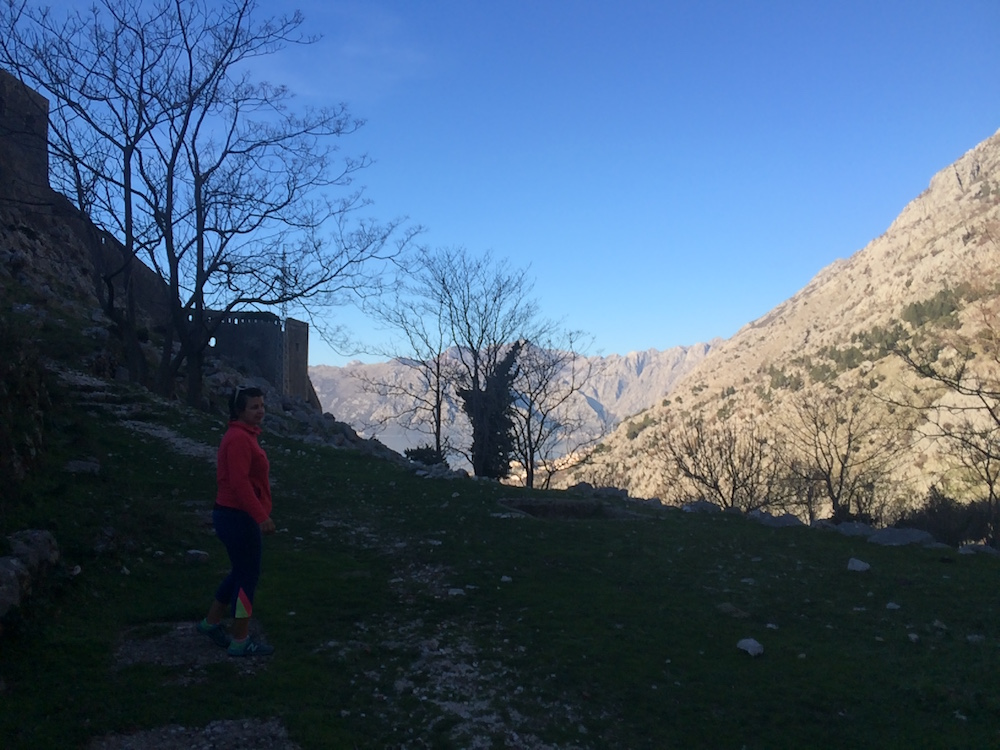 The winter sun gives things a warm glow at the top of the wall in Kotor