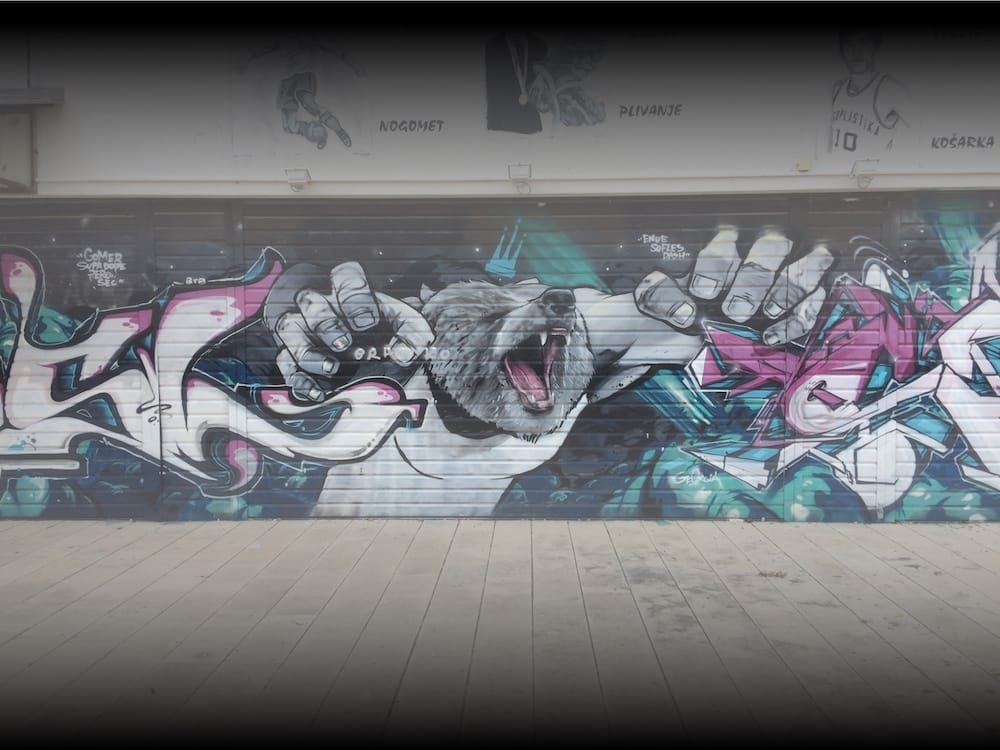 Split has quite a bit of street art, this bear is one of the best