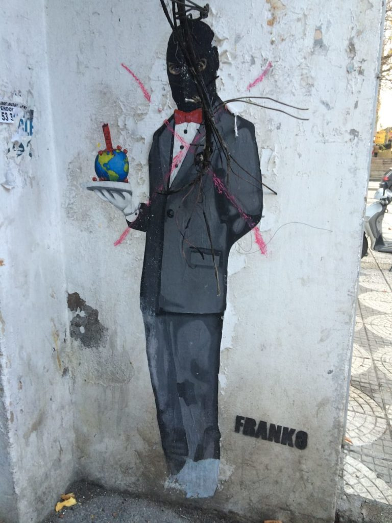 Street art, check out the balaklava on this gent